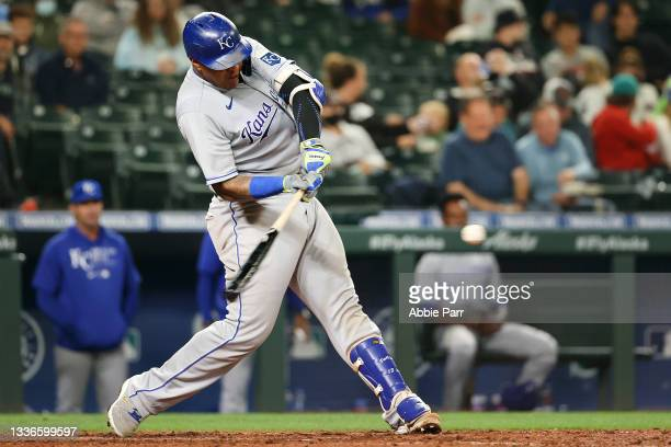 Salvador Perez of the Kansas City Royals hits a grand slam to take a 5-4 lead against the Seattle Mariners in the sixth inning at T-Mobile Park on...
