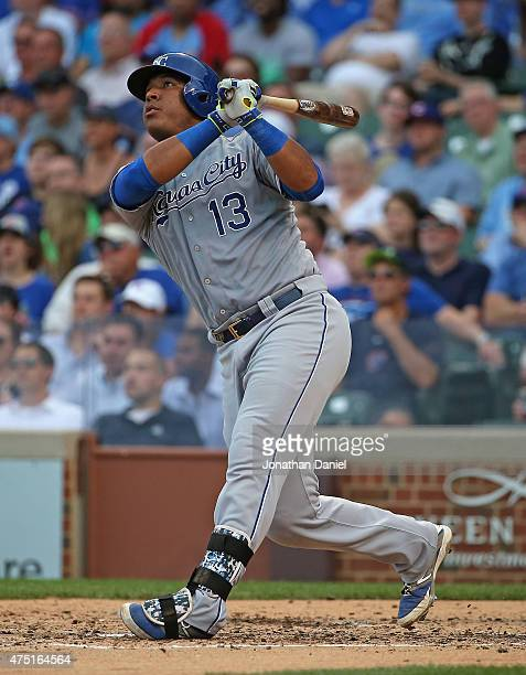 Salvador Perez of the Kansas City Royals hits a solo home run in the 4th inning against the Chicago Cubs at Wrigley Field on May 29, 2015 in Chicago,...