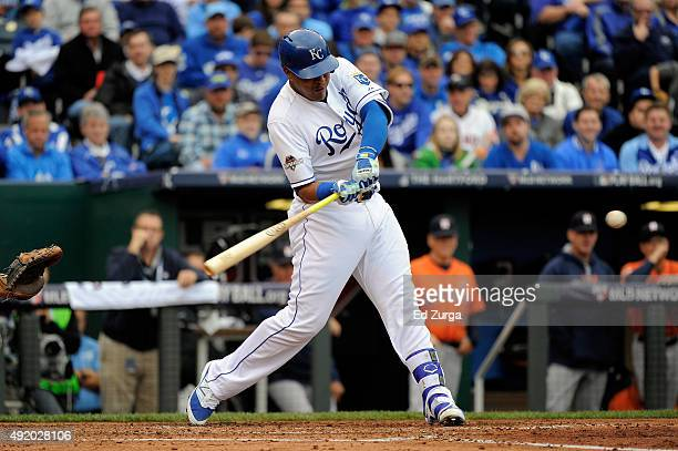 Salvador Perez of the Kansas City Royals hits a solo home run in the second inning against Scott Kazmir of the Houston Astros during game two of the...