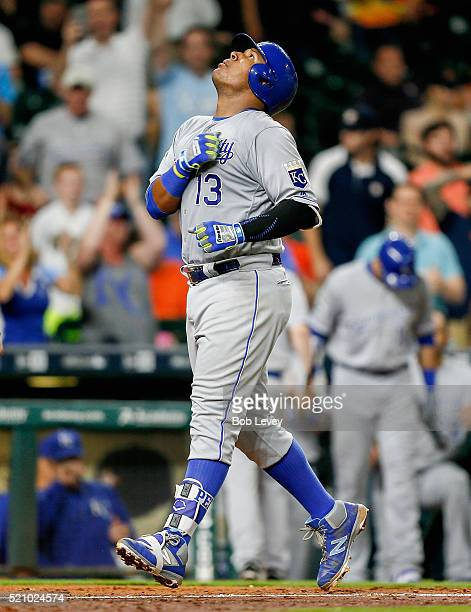 Salvador Perez of the Kansas City Royals hits a two-run home run in the eighth inning against the Houston Astros at Minute Maid Park on April 13,...