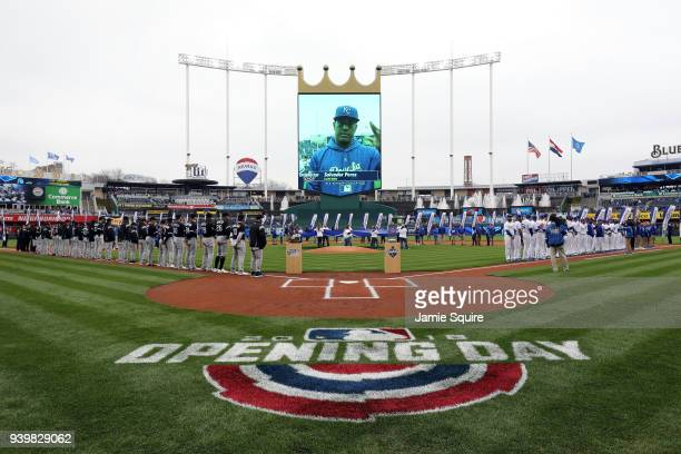 Salvador Perez of the Kansas City Royals is introduced prior to the game between the Chicago White Sox and the Kansas City Royals on Opening Day at...