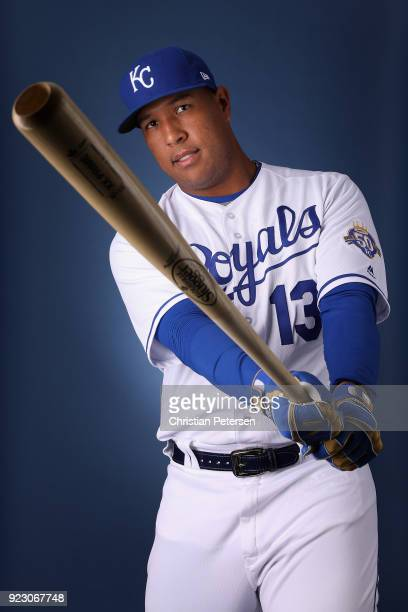 Salvador Perez of the Kansas City Royals poses for a portrait during photo day at Surprise Stadium on February 22, 2018 in Surprise, Arizona.