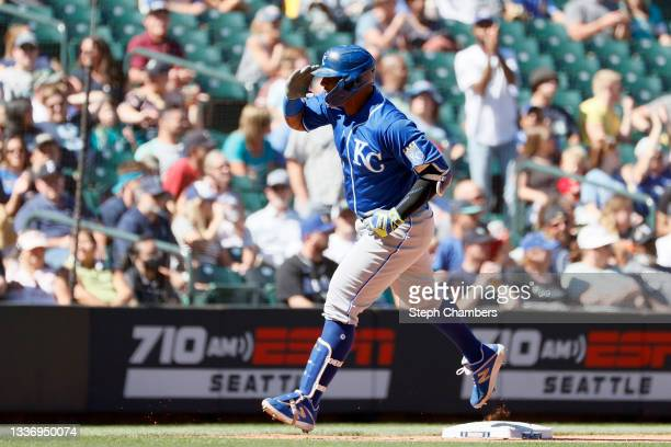 Salvador Perez of the Kansas City Royals reacts after his two run home run during the fifth inning against the Seattle Mariners at T-Mobile Park on...