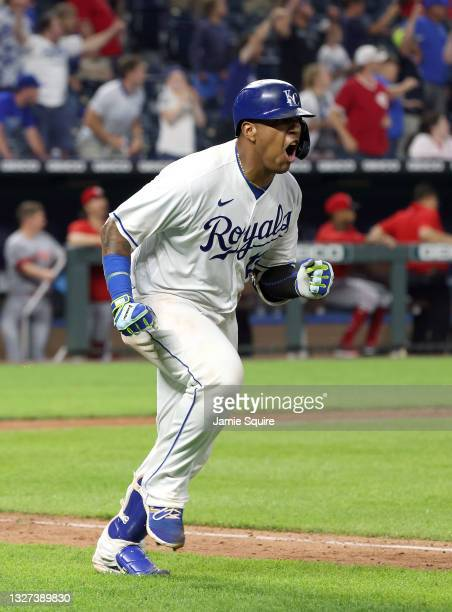 Salvador Perez of the Kansas City Royals reacts as he hits the game-winning single to defeat the Cincinnati Reds 7-6 and win the game in the bottom...