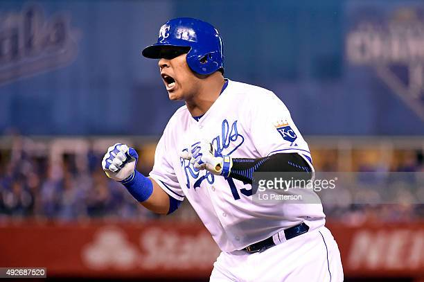 Salvador Perez of the Kansas City Royals reacts during Game 5 of the ALDS against the Houston Astros at Kauffman Stadium on Wednesday October 14 2015...