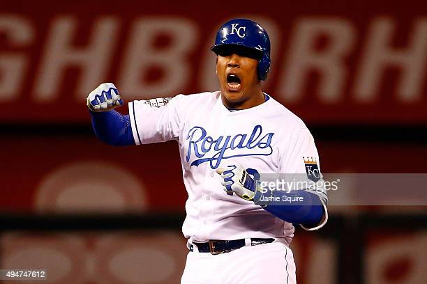Salvador Perez of the Kansas City Royals reacts in the eighth inning against the New York Mets in Game Two of the 2015 World Series at Kauffman...
