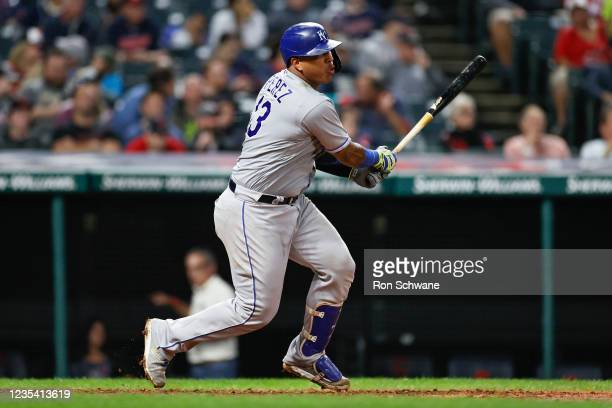 Salvador Perez of the Kansas City Royals singles off Cal Quantrill of the Cleveland Indians during the sixth inning at Progressive Field on September...