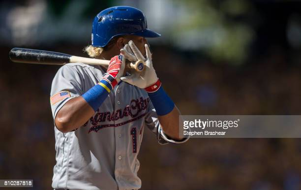 Salvador Perez of the Kansas City Royals waits for a pitch during an atbat in a game against the Seattle Mariners at Safeco Field on July 4 2017 in...