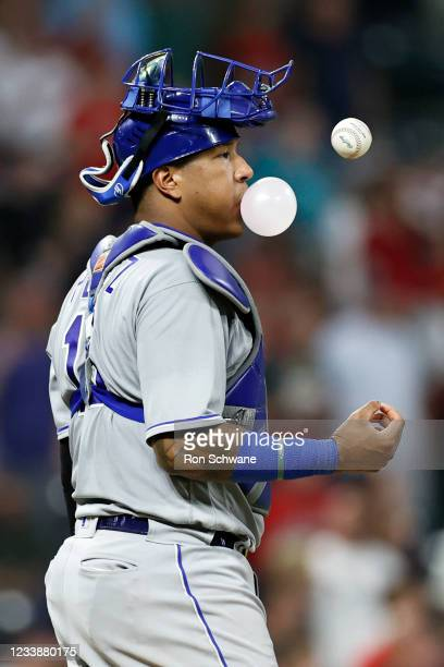 Salvador Perez of the Kansas City Royals waits on the mound for relief pitcher Jake Brentz against the Cleveland Indians during the seventh inning at...