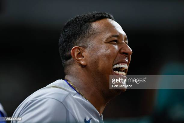 Salvador Perez of the Kansas City Royals watches from the dug out in the fifth inning during game two of a doubleheader against the Cleveland Indians...
