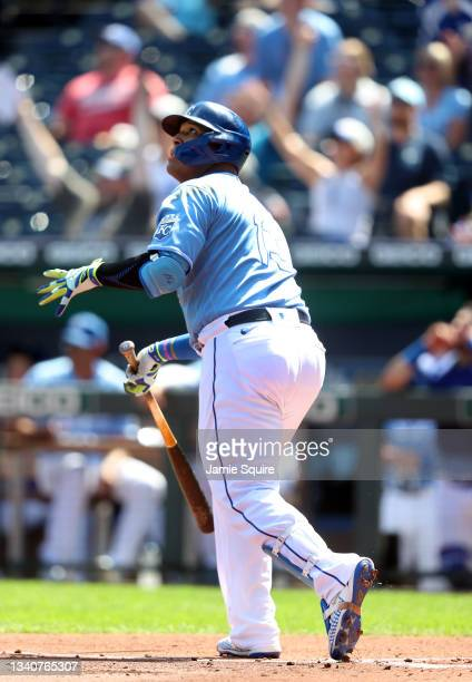 Salvador Perez of the Kansas City Royals watches the ball as he hits a 2-run home run during the 1st inning of the game against the Oakland Athletics...