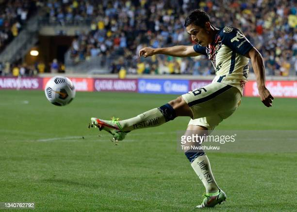 Salvador Reyes of Club America clears the ball against the Philadelphia Union during the semifinal second leg match of the CONCACAF Champions League...