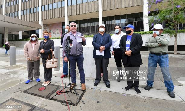 Salvador Sanabria, who was forced into exile in 1980 by the military regime governing El Salvador, addresses the media outside the Federal Building...