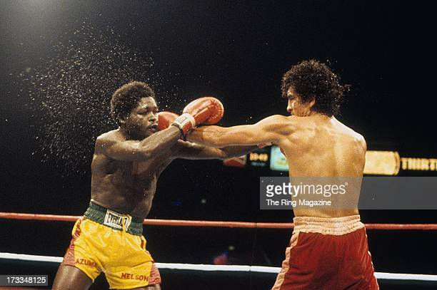 Salvador Sanchez lands a punch against Azumah Nelson during the fight at Madison Square Garden in New York New York Salvador Sanchez won the WBC...