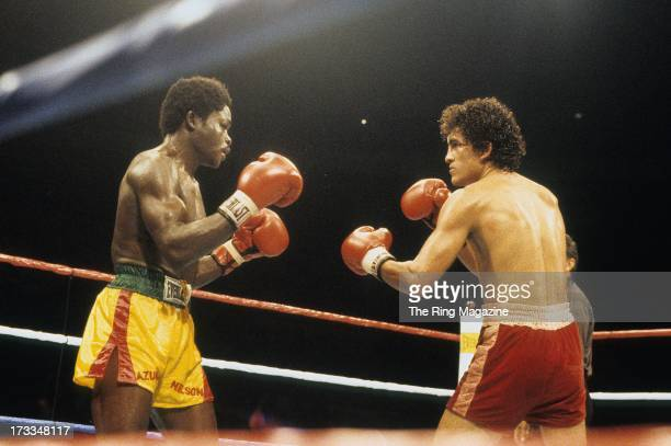 Salvador Sanchez looks to land a punch against Azumah Nelson during the fight at Madison Square Garden in New York New York Salvador Sanchez won the...