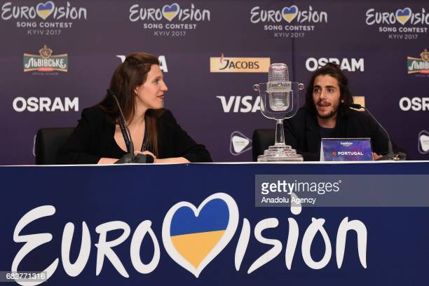 Salvador Sobral from Portugal attends a press conference with her sister Luisa Sobral after winning the Grand Final of the 62nd annual Eurovision...