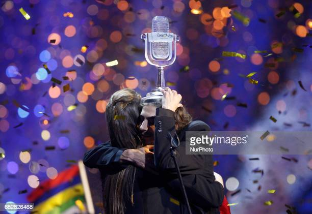 Salvador Sobral from Portugal celebrates the victory at the Grand Final of the Eurovision Song Contest in Kiev Ukraine 13 May 2017