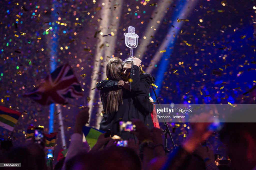 Salvador Sobral, the contestant from Portugal, holds the trophy and hugs his sister Luisa Sobral, who wrote his winning song, after being announced as the winner at the Eurovision Grand Final on May 14, 2017 in Kiev, Ukraine. Ukraine is the 62nd host of the annual iteration of the international song contest. It is the longest running international TV song competition, held primarily among countries from Europe. Each participating country will perform an original song, votes cast by the other countries determine the winner. This year's winner Salvador Sobral from Portugal won with his love ballad 'Amar Pelos Dois'.