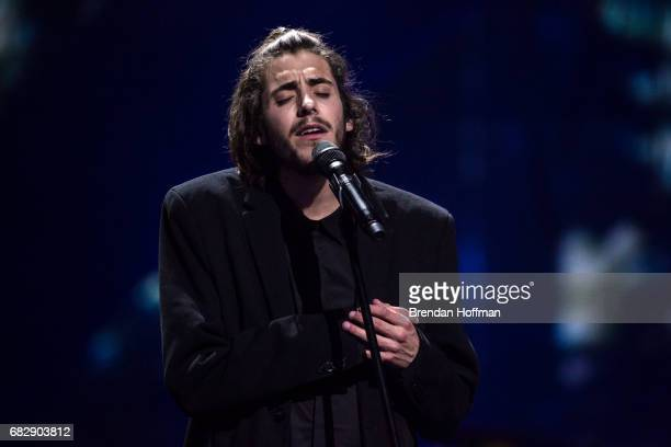 Salvador Sobral the contestant from Portugal performs after being announced as the winner at the Eurovision Grand Final on May 14 2017 in Kiev...