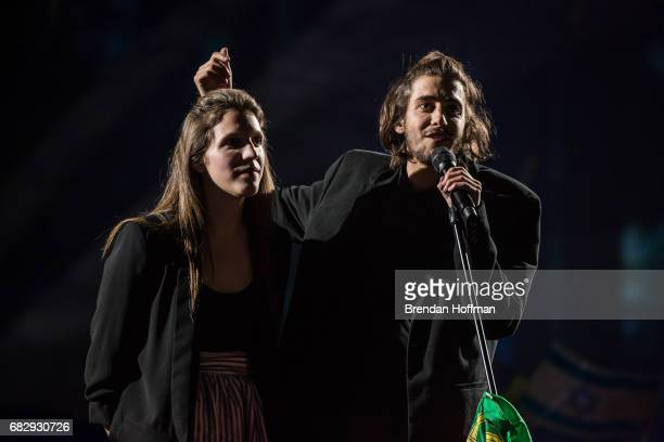 Salvador Sobral the contestant from Portugal performs after being announced as the winner with his sister Luisa Sobral who wrote his winning song at...