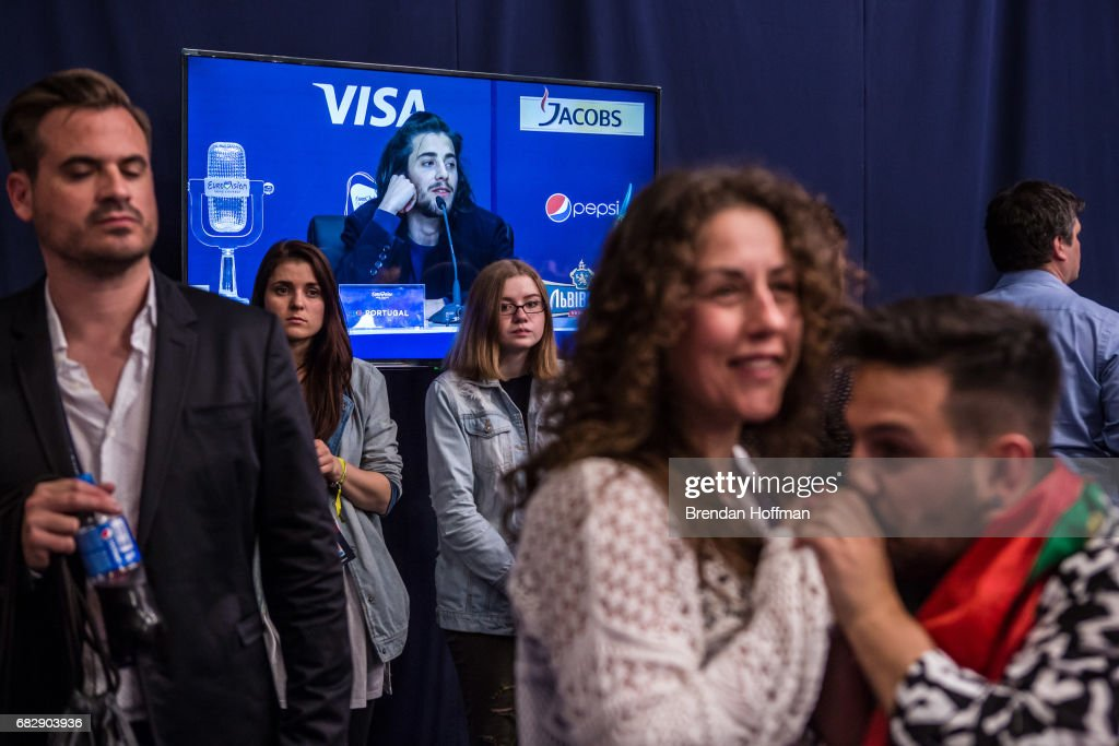 Salvador Sobral, the winning contestant from Portugal, is seen on a television screen during the winner's press conference at the Eurovision Grand Final on May 14, 2017 in Kiev, Ukraine. Ukraine is the 62nd host of the annual iteration of the international song contest. It is the longest running international TV song competition, held primarily among countries from Europe. Each participating country will perform an original song, votes cast by the other countries determine the winner. This year's winner Salvador Sobral from Portugal won with his love ballad 'Amar Pelos Dois'.