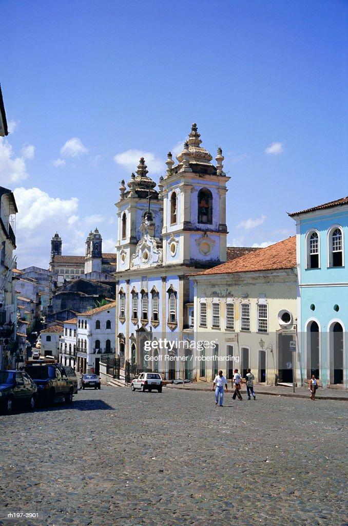 Salvador, the Pelourinho district at Largo do Pelourinho, Bahia State, Brazil, South America : Foto de stock
