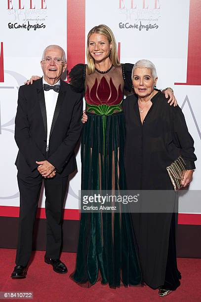 Salvador Tous, Gwyneth Paltrow and Rosa Tous attend ELLE Magazine 30th anniversary party at Circulo de Bellas Artes Club on October 26, 2016 in...