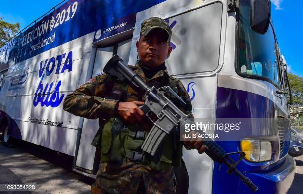 Salvadoran Army soldier patrol the International Fair and Convention Center CIFCO in San Salvador on February 2 2019 ahead of the first round of the...