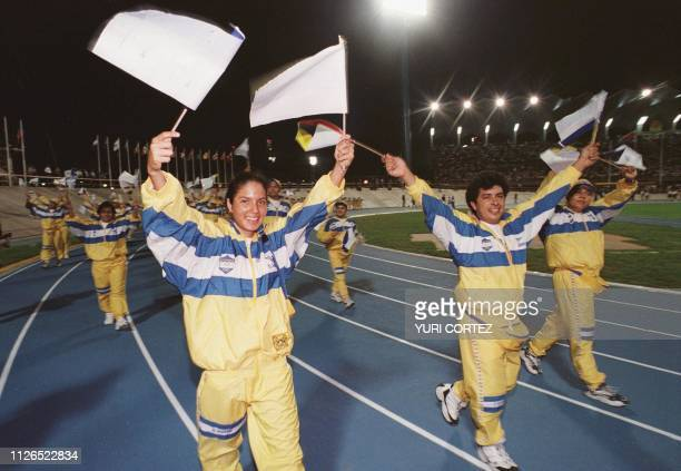 Salvadoran athletes wave at the opening ceremony of the Central American and Caribbean Games in the Pachencho Romero Stadium in Maracaibo Venezuela...