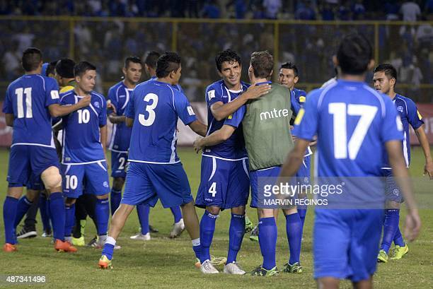 Salvadoran National Selection soccer players celebrate a goal at the Cuscatlan Stadium in San Salvador on September 8 in the return match of World...