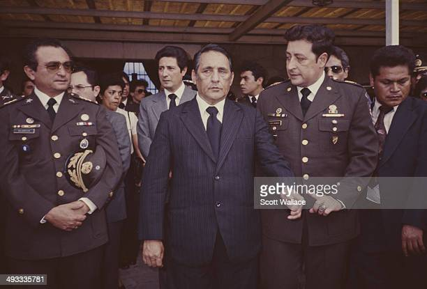 Salvadoran President José Napoleón Duarte with his generals in El Salvador during the Salvadoran Civil War 1984