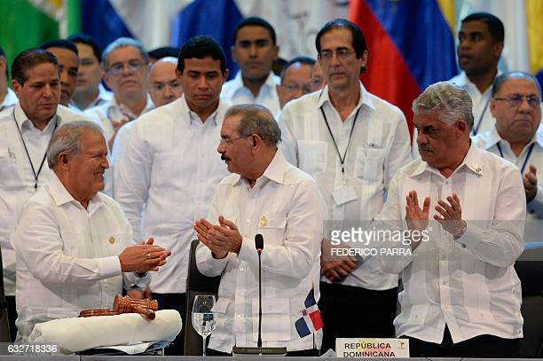 Salvadoran President Salvador Sanchez Ceren , his Dominican Republic counterpart Danilo Medina and Dominican Minister of Foreign Affairs Miguel...