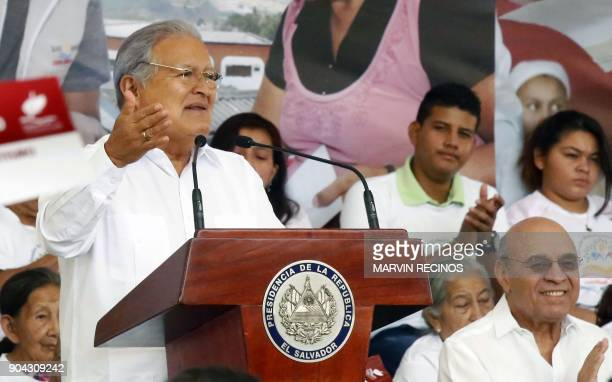 Salvadoran President Salvador Sanchez Ceren speaks during an event held to declare a municipality free of illiteracy in Ciudad Delgado four km north...
