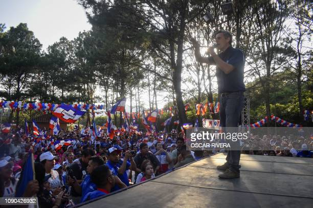 Salvadoran presidential candidate Carlos Calleja of the National Republican Alliance speaks during the closing rally of his campaign in San Salvador...