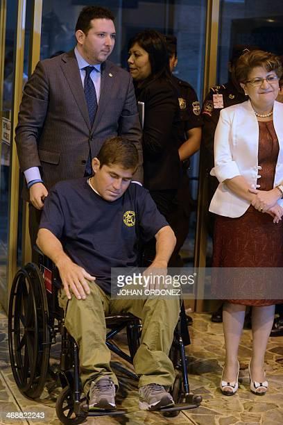 Salvadorean castaway Jose Salvador Alvarenga arrives on a wheelchair to El Salvador international airport in San Luis Talpa 50 km south of San...