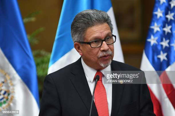Salvadorean Foreign Minister Carlos Castaneda speaks during a joint press conference with US Homeland Security Secretary Kirstjen Nielsen and...