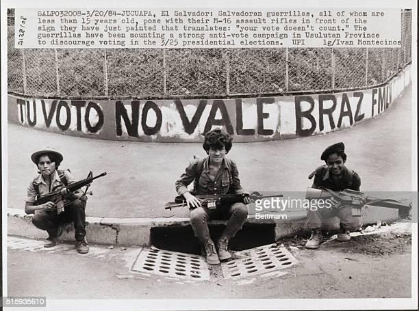 Salvadorean Guerrillas Pose with AntiVote Banner | Location Jucuapa