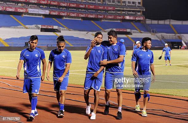 Salvadorean national football team players joke as they take part in a field recognition at the Olimpico Metropolitano stadium in San Pedro Sula 240...