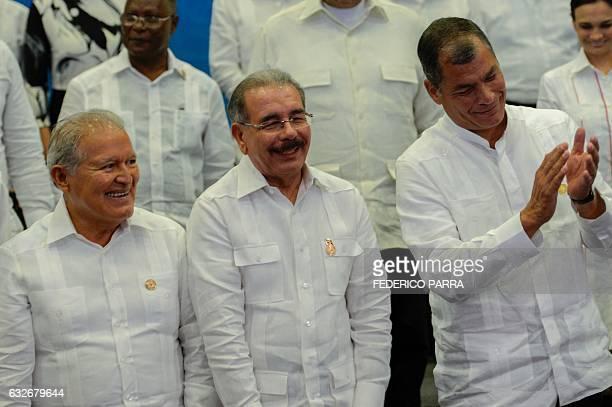 Salvadorean President Salvador Sanchez Ceren , Dominican President Danilo Medina and Ecuadorean President Rafael Correa pose during the family...