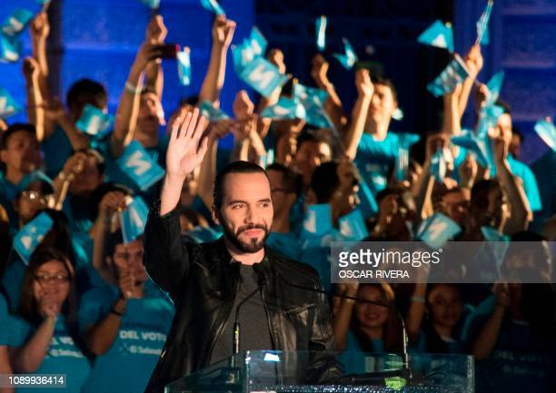 Salvadorean presidential candidate Nayib Bukele of the Great National Alliance waves at supporters during the closing rally of his campaign in San...