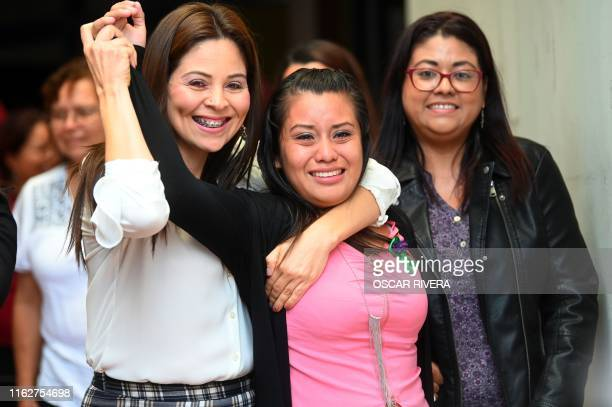 Salvadorean rape victim Evelyn Hernandez celebrates after being cleared of murder after giving birth to a stillborn baby at home in 2016, at Ciudad...