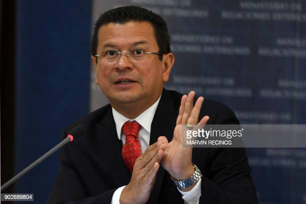 Salvador's Foreign Minister Hugo Martinez speaks during a joint press conference with the ambassador of the United States to Salvador Jean Elizabeth...