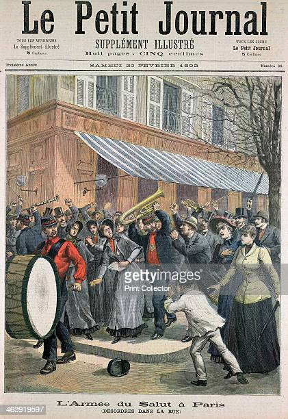 Salvation Army march led by a drummer being barracked by onlookers in Paris 1892 The Salvation Army an evangelical Protestant charitable movement was...