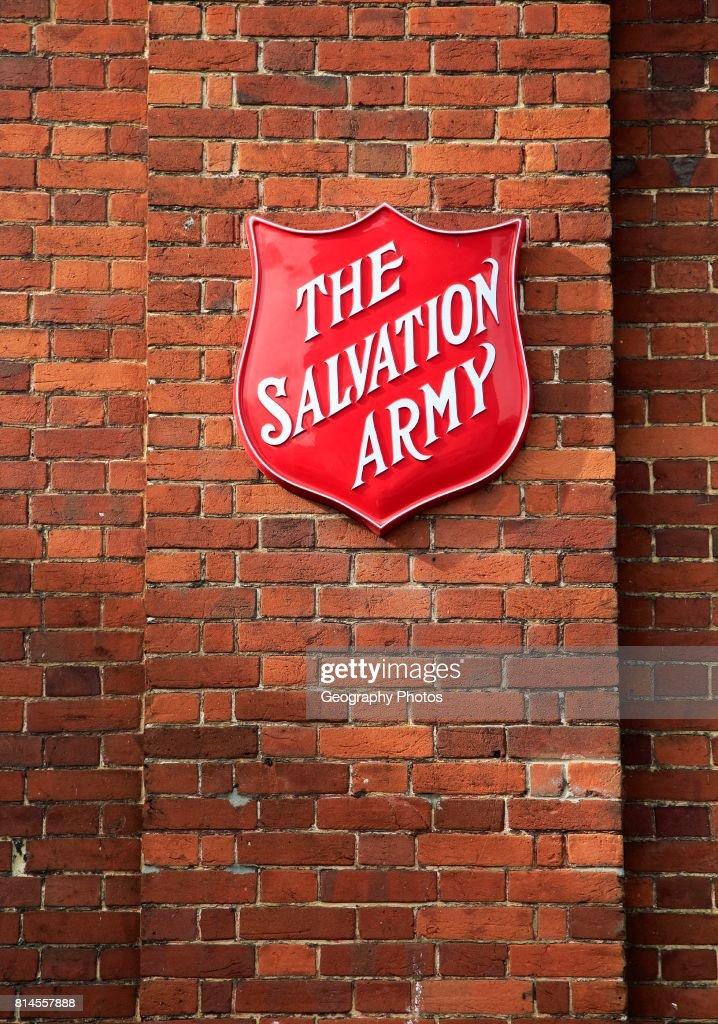 Salvation Army sign on brick wall, Andover, Hampshire, England : News Photo