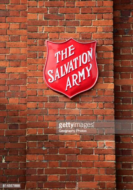 Salvation Army sign on brick wall Andover Hampshire England