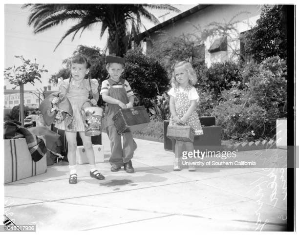 Salvation Army summer camp at Redondo June 28 1951 Carolyn Lee 3 1/2 yearsHarry Williams 6 yearsAndrea Corn 3 yearsMore descriptive information with...