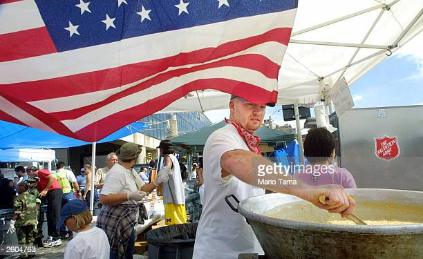 Salvation Army volunteer Chris Smith mixes a bowl of corn chowder for rescue workers September 18 2001 one week after the World Trade Center attack...