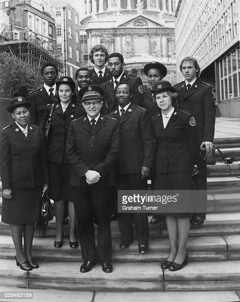 Salvation Army workers from South Africa pose with Arnold Brown the 11th General of the Salvation Army outside the organisation's headquarters in...