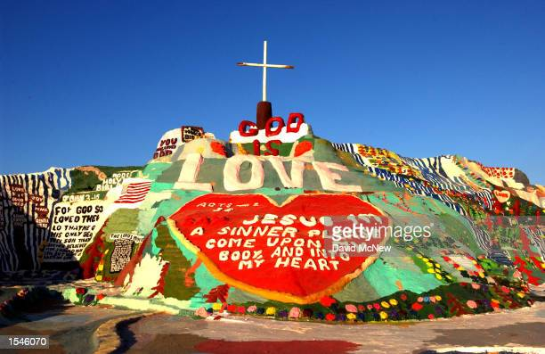 Salvation Mountain expresses 'God is love' and other Biblical messages May 30 2002 near Niland CA east of the Salton Sea 70yearold Leonard Knight has...