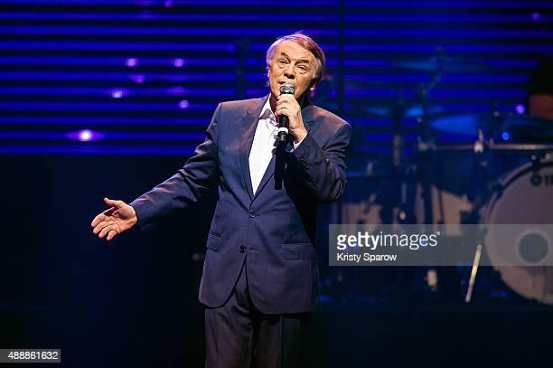 Salvatore Adamo performs during the 'Leurs Voix Pour L'Espoir 2015' Concert at L'Olympia on September 17, 2015 in Paris, France.